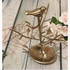 Target gold jewelry stand hanger metal tree bird
